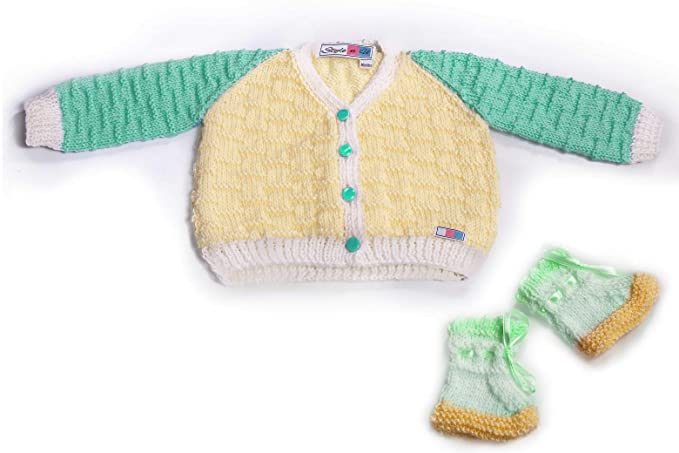 b5ab9e66a SnU Hand Knitted Multi Color Baby Sweater   Cap Set- Green