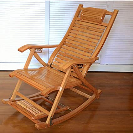 Furniture Wooden Rocker Chair With Massager And Foot Rest, Outdoor Patio  Glider Lounge Bamboo Armchair