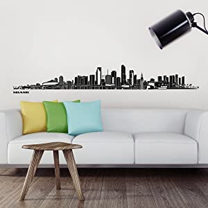 Wandkings® Skyline wall sticker wall decal - 48.8 x 7.1 inch in black - Your city selectable - MIAMI