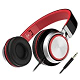 Foldable Headphones, Sound Intone MS200 Stereo On-Ear Headset, Tangle free Cable, Light Weight for Smartphones/iPhone/Samsung/iPod/Andriod/HTC (Black/Red)