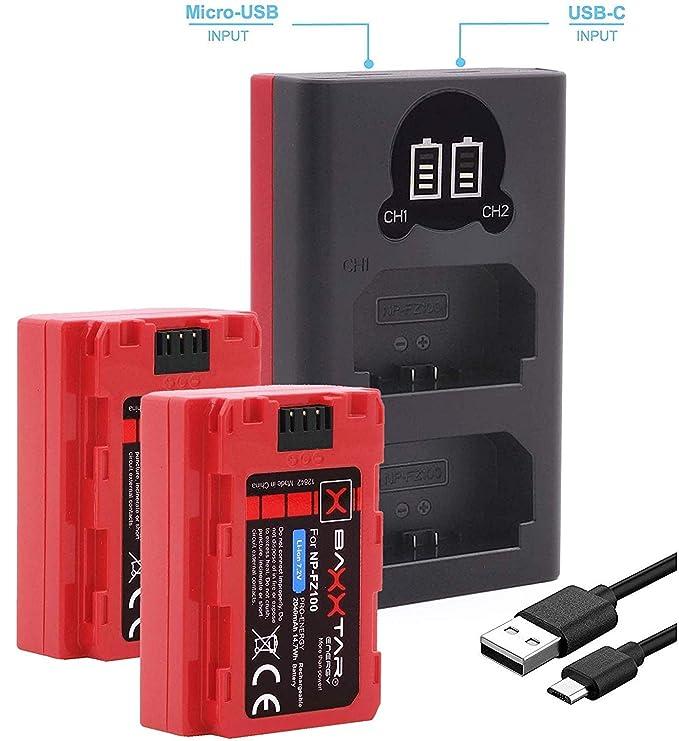 Baxxtar Pro III (2X) Compatible con la batería Sony NP-FZ100 (también para Alpha 7R IV Alpha 9 II Alpha 6600) con Cargador Mini 18582 LCD Dual