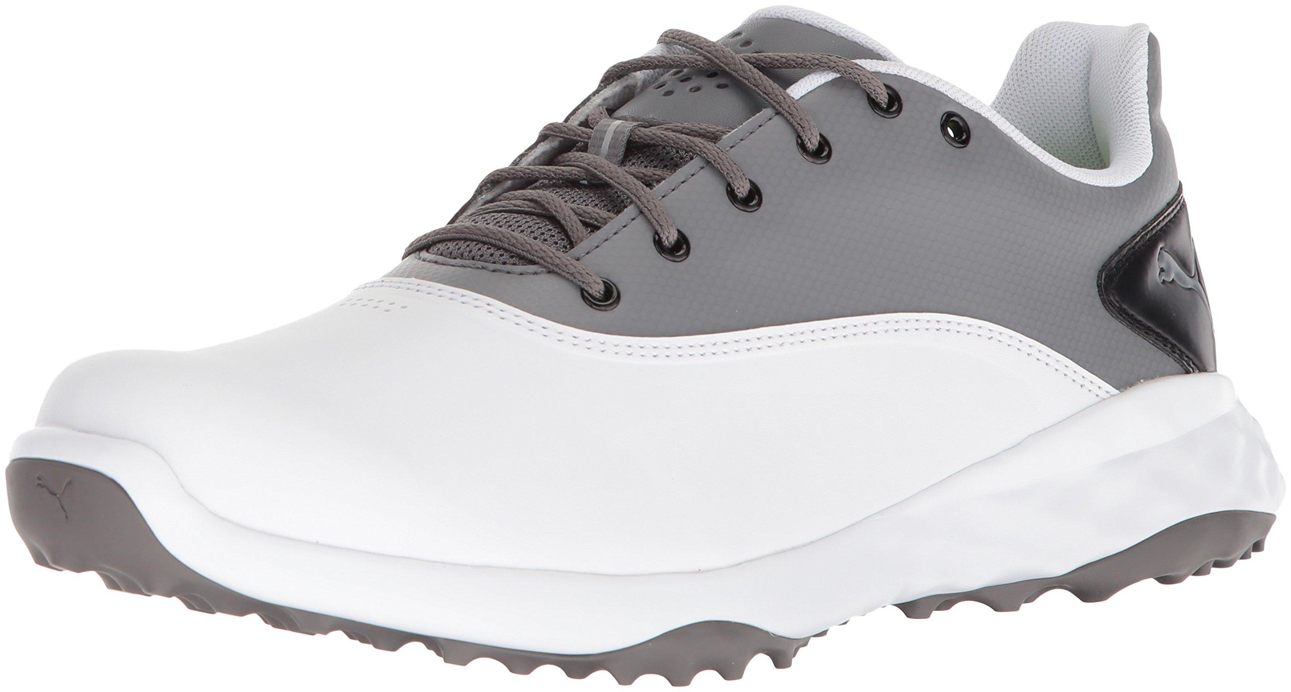 PUMA Golf Men's Grip Fusion Golf Shoe, White/Quiet Shade/Black, 7.5 Medium US by PUMA