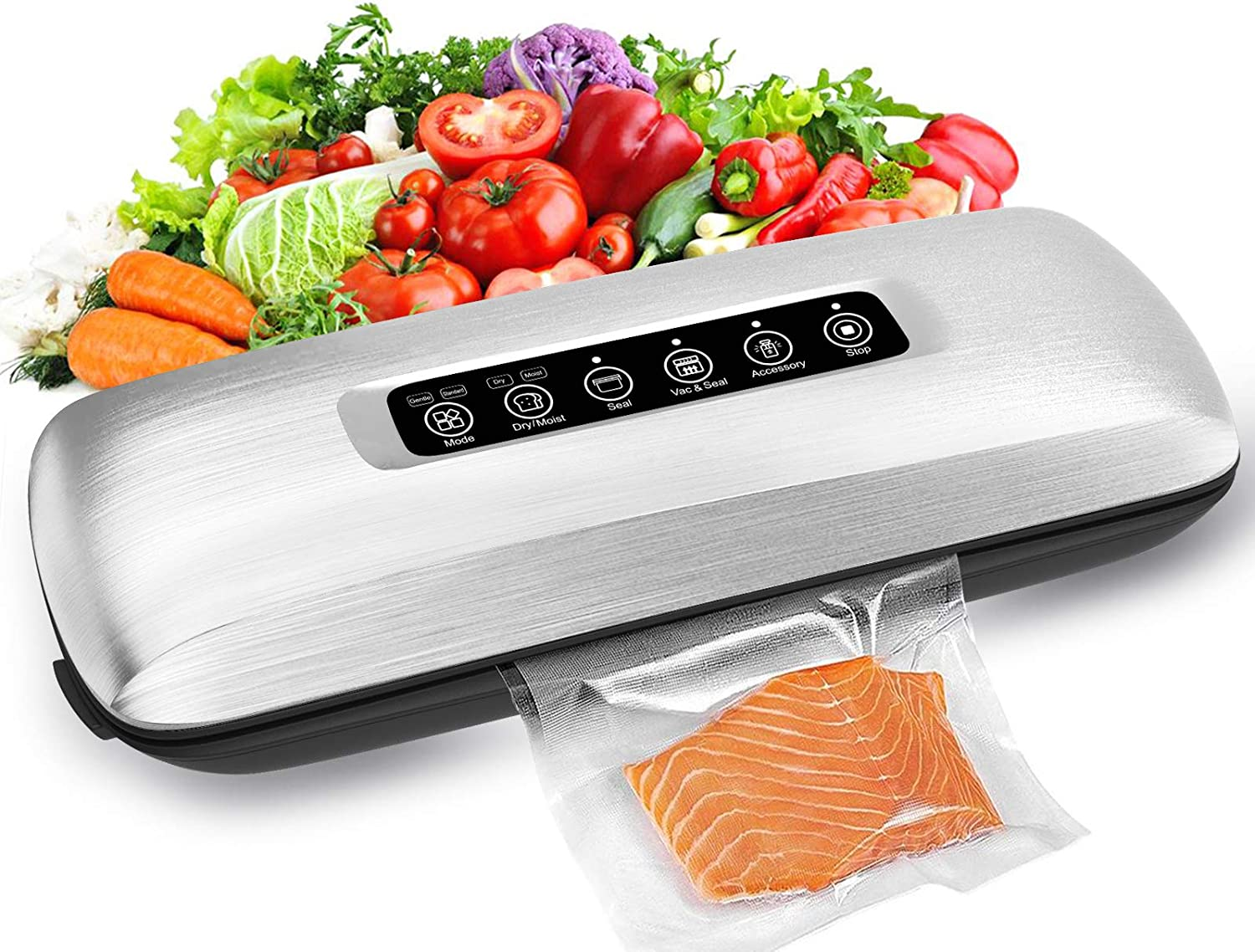Cocomox Vacuum Sealer Machine, Automatic Air Vacuum Sealer Built-in Cutter for Food Saver Storage, Food Sealer with Starter Kit Dry Moist Food Modes Adjustable Led Indicator Lights Compact Design