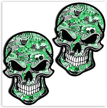 Skinoeu 2 Stück Vinyl Aufkleber Autoaufkleber Bomb Stickers Skull Schädel Totenkopf Grün Horror Stickers Auto Moto Motorrad Fahrrad Helm Fenster Tür Tuning B 51 Auto