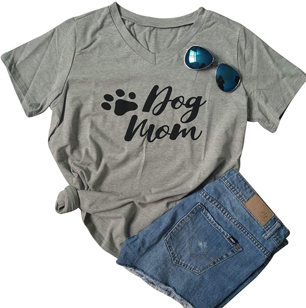 LUKYCILD Dog Mom T Shirt Womens V Neck Short Sleeve Cute Funny Graphic Print Shirt Dog Lover Tee Top
