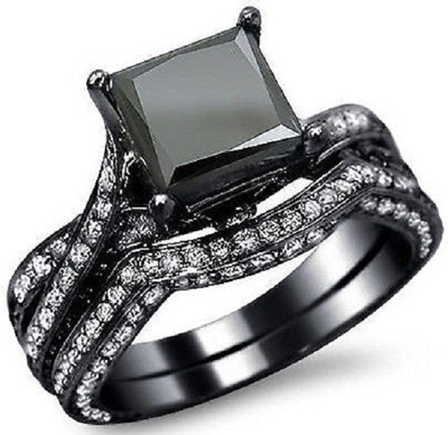 Silvernshine Jewels 3.25 Ct Black Sim Diamond Engagement Ring Bridal Wedding Set 14K Black Gold Fn
