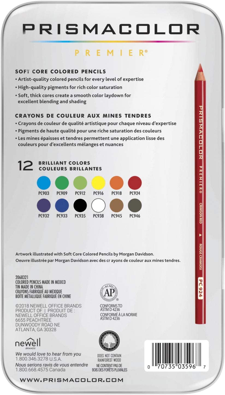 Prismacolor 3596T Premier Colored Pencils, Soft Core, 12 Count : Wood Colored Pencils : Office Products