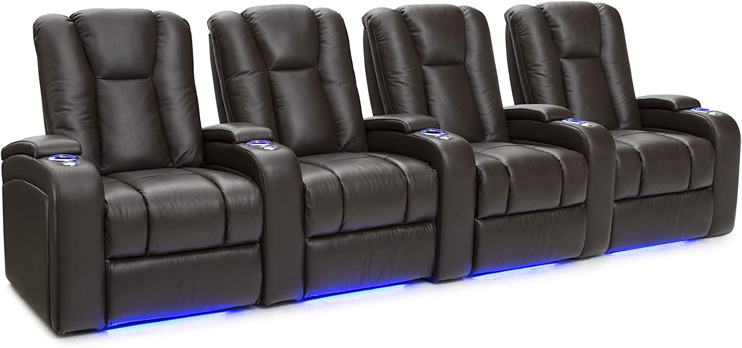 Seatcraft Serenity Leather Home Theater Seating - Power Recline - Tray Tables - in-Arm Storage - Ambient Base Lighting and Lighted Cupholders (Row of 4, Brown)