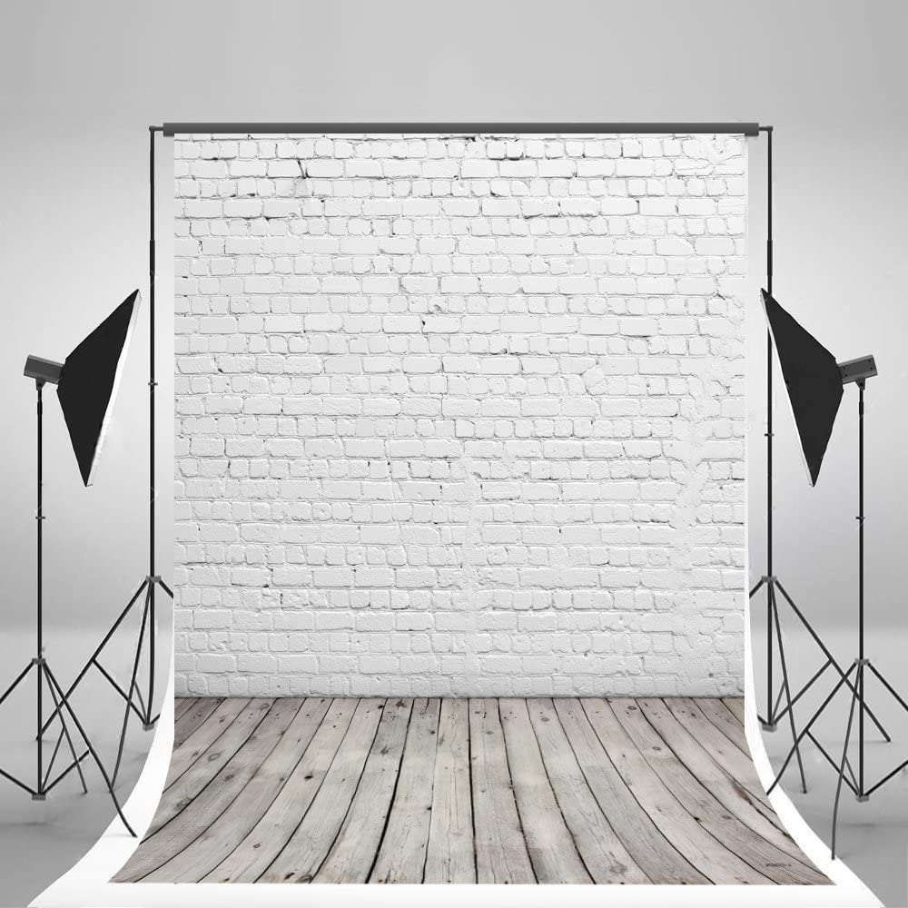 LB 5x7ft Gray Brick Wall Backdrop Rustic Wooden Board Photography Backdrops Vintage Brick Texture Wood Floor Background for Kids Birthday Baby Shower Party Portrait Photo Booth Studio Props