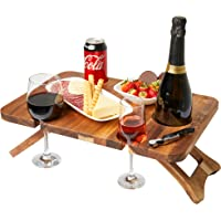 DIDBELL Portable Wine and Champagne Picnic Table, Foldable with Bottle and Glass Holders, great for Outdoors, Indoors…