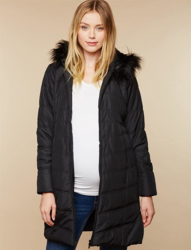 1d9c06152ce30 Motherhood Maternity Women's Maternity Quilted Puffer Coat with Attached  Hood and Faux Fur Trim Detail at Amazon Women's Clothing store: