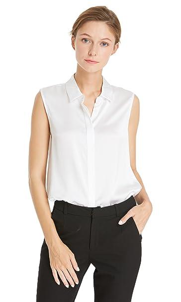 Lilysilk Camisa Mujer Sin Mangas 100% Seda Natural DE 22 Momme Estilo de Oficina,