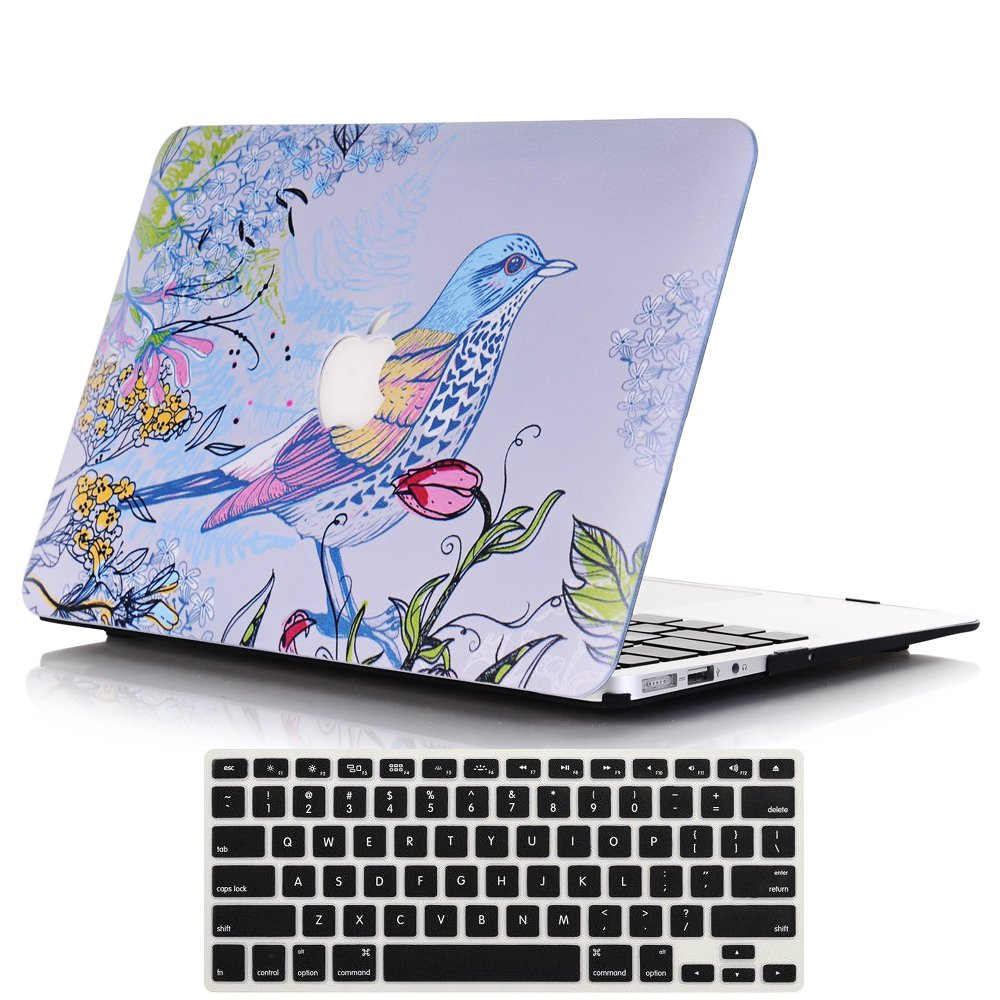 Lykoko Plastic Hard Case and Keyboard Cover for MacBook Air 13 inch Models: A1369 and A1466 (White Marble)
