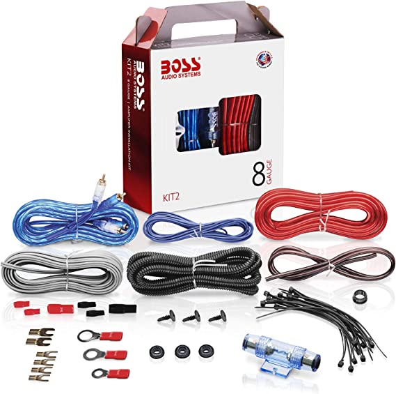 BOSS Audio Systems KIT2 8 Gauge Amplifier Installation Wiring Kit - on amp wiring, sound wiring, cruise control wiring, av receiver wiring, sub wiring, automatic headlights wiring, audio wiring, air conditioning wiring, usb wiring, surround wiring, speaker wiring, soundbar wiring, bass wiring, keyboard wiring, woofer wiring, amplifier wiring, crossover wiring, power wiring,