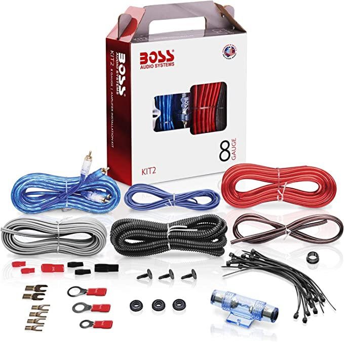 amazon.com: boss audio systems kit2 8 gauge amplifier installation wiring  kit - a car amplifier wiring kit helps you make connections and brings power  to your radio, subwoofers and speakers: car electronics  amazon.com