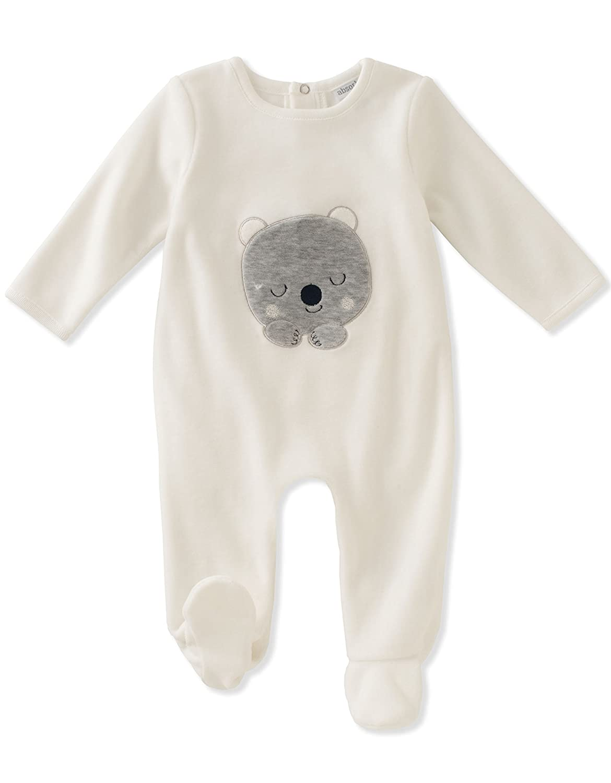Absorba unisex-baby Baby Velour Footie -Unisex Silent Vanilla 3-6 Months 90D90156-99