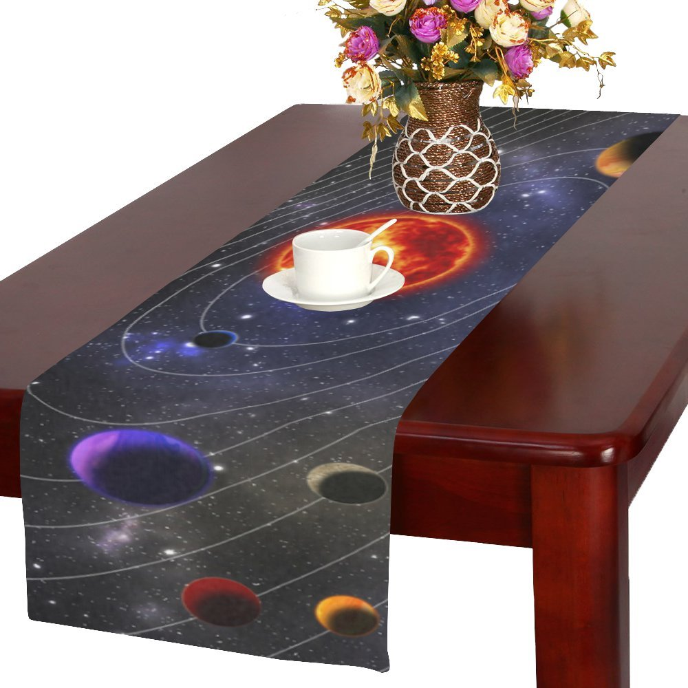 D-Story Outer Space Galaxy Solar System Planets Table Runner 16x72 inch For Dinner Parties Events Home Decor