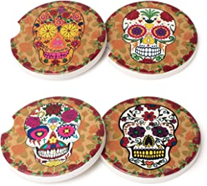 Avamie Car Coasters 4 Pack, Car Cup Holder Coasters, Absorbent Ceramic Coasters for Car 2.56 inch, Day of The Dead Dia De Muertos Skull Head Design
