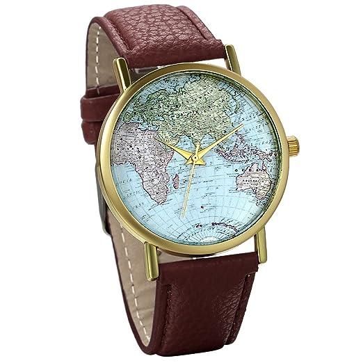 Jewelrywe Reloj de Pulsera Retro Vintage Esfera mapamundi Correa de Cuero marrón