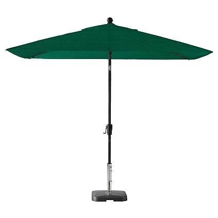 Secret Garden Home Goods Pismo Dawn 9' x 7' Rectangular Premium Push Tilt Market Umbrella (Black Sapphire, Olefin- Hunter Green)