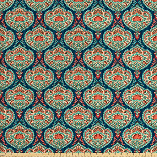 Lunarable Paisley Fabric by The Yard, Middle Eastern Traditional Motifs Vertical Lines Background Floral, Decorative Fabric for Upholstery and Home Accents, Salmon Navy Blue Seafoam