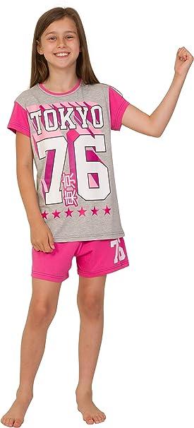 Girl/'s Pyjamas EMOJI Sleepy Short Pjs 9 to 14 Years White and Pink