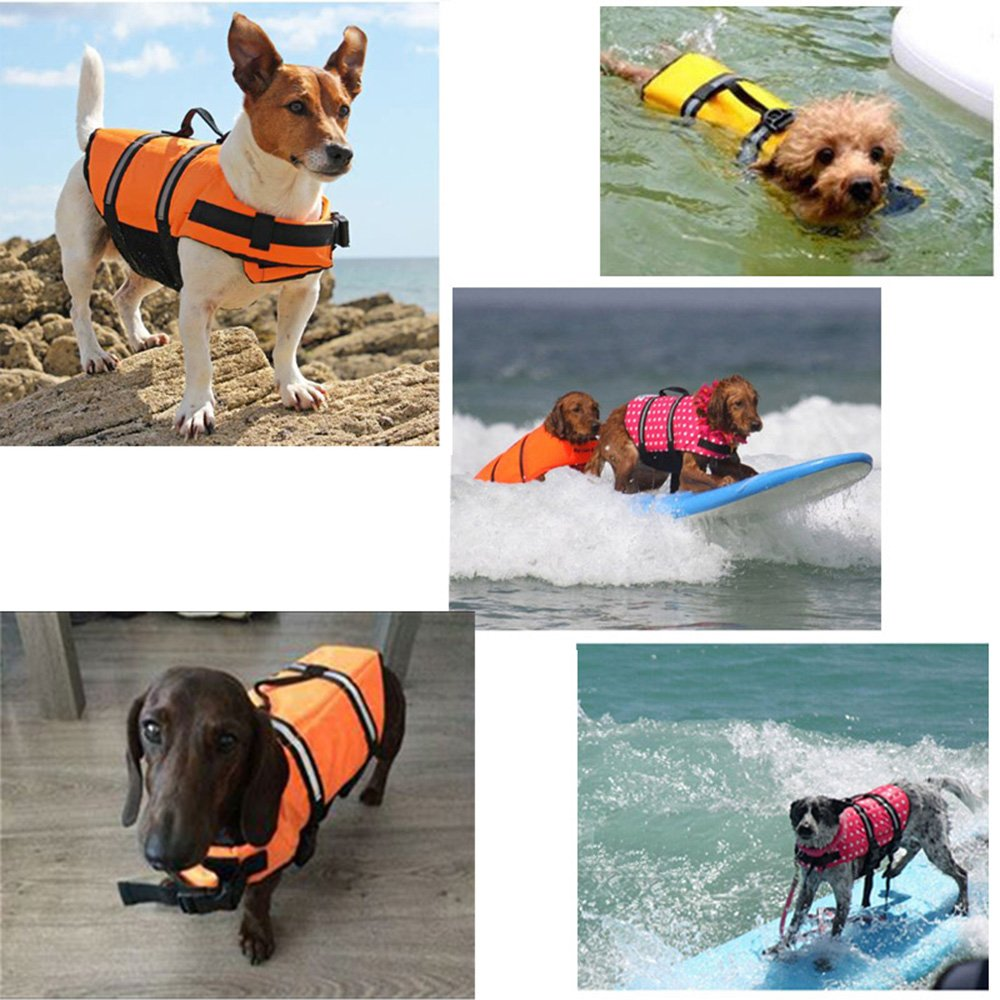 SILD Pet Life Jacket Size Adjustable Dog Lifesaver Safety Reflective Vest Pet Life Preserver Dog Saver Life Vest Coat for Swimming,Surfing,Boating, Hunting (XL, Orange) by SILD (Image #4)