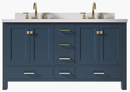 ARIEL 61″ Inch Midnight Blue Double Bathroom Vanity