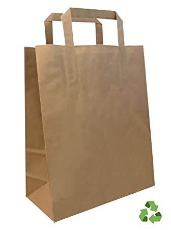 Bolsas Papel KRAFT | ASA PLANA | Reciclables | Marrón | 22 ...