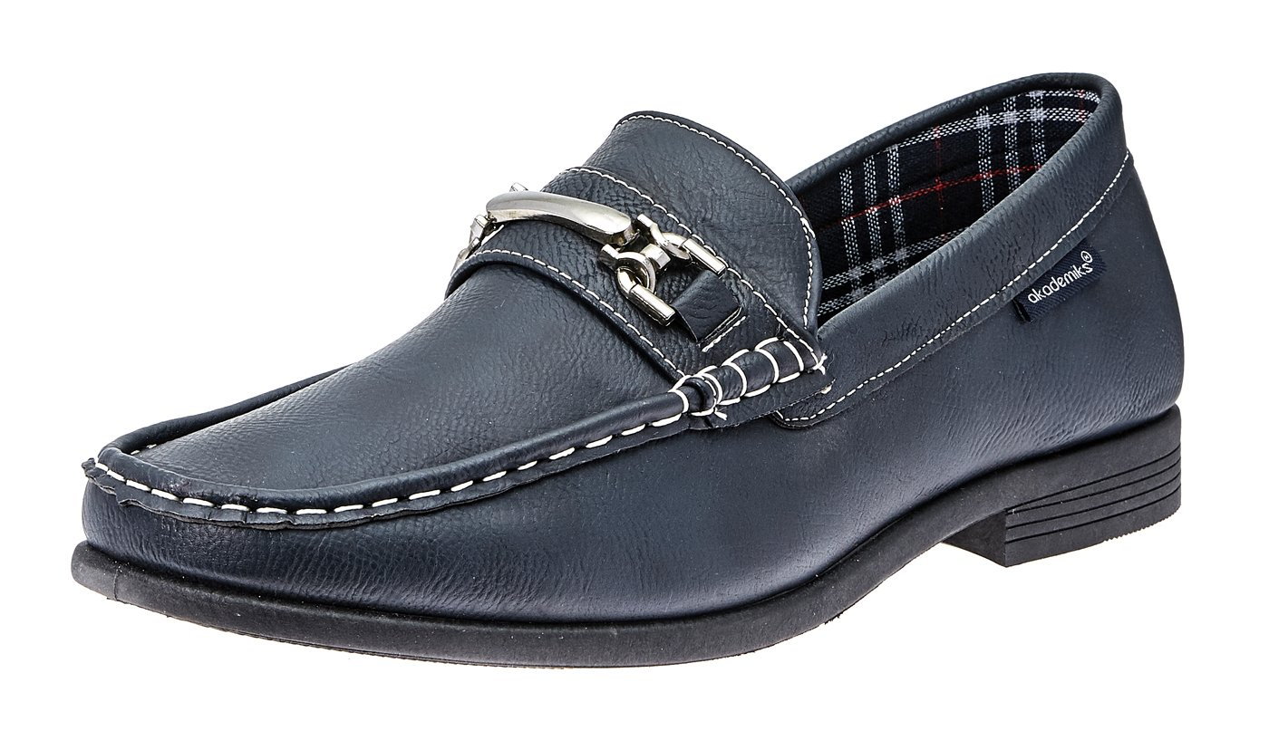 Akademiks Men's Loafers- Fashion Slip On Buckle, Comfort in-Sole,Navy,9.5 M US