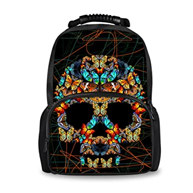 Coloranimal Black Shoulder Backpacks for Children Butterfly Skull Mochilas Escolar