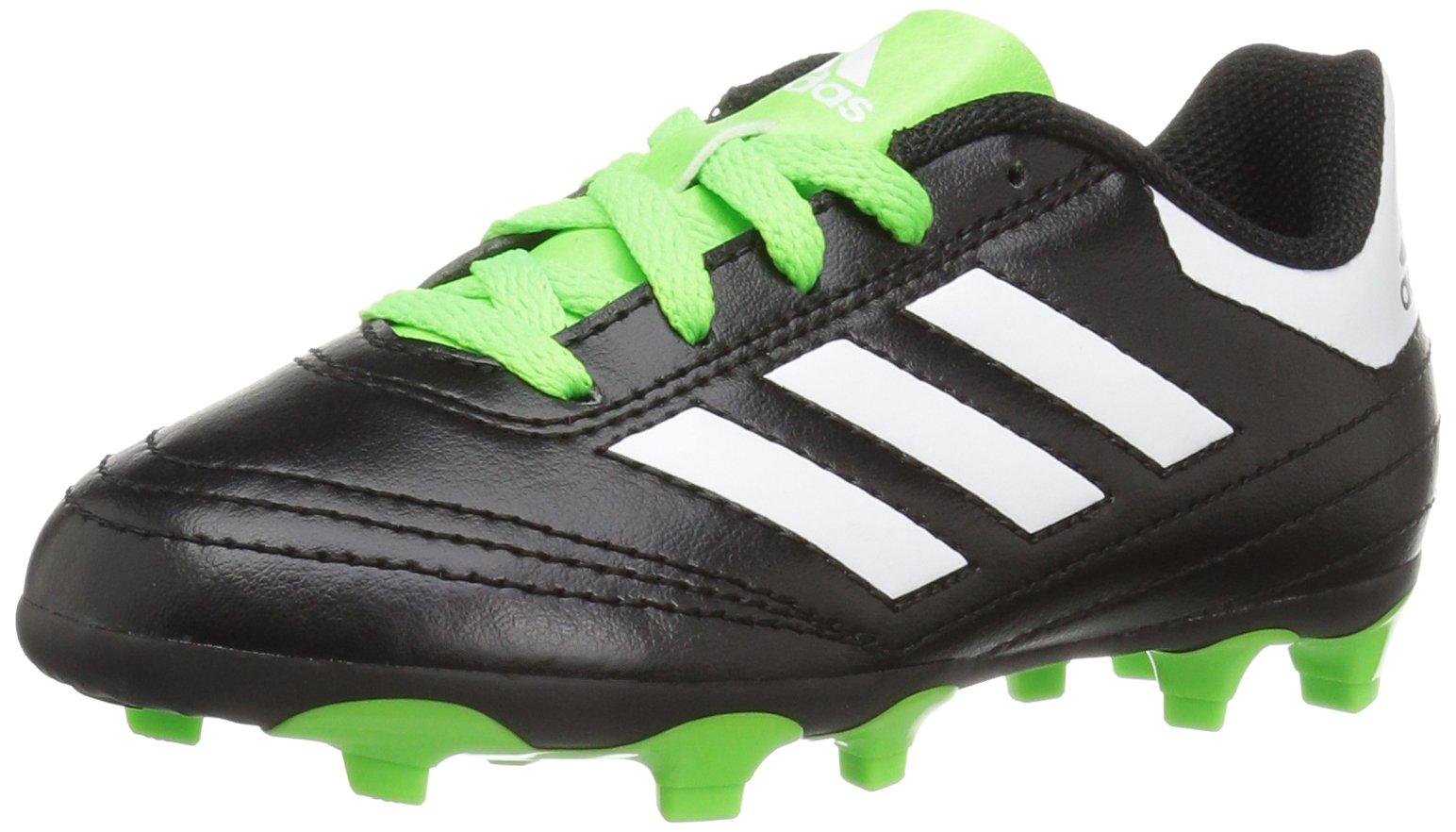 adidas Performance Kids' Goletto VI J Firm Ground Soccer Cleats, Black/White/Sgreen, 3 Medium US Little Kid