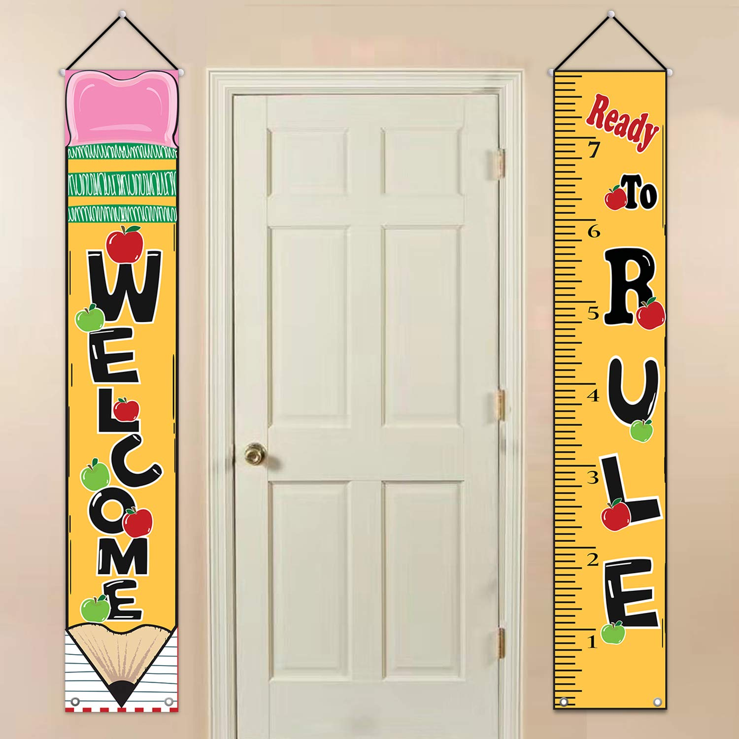 MORDUN Classroom Decorations , Back to School Supplies , Welcome Ready to  Rule Hanging Fabric Banners Flags Sign , Classroom Decor for Math Teachers