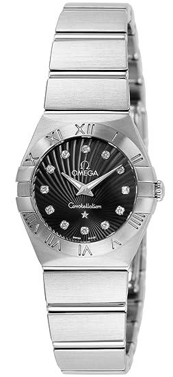 Omega muñeca relojes constelación negro Dial diamante 100 M impermeable 123.10.24.60.51.001 de la mujer: Amazon.es: Relojes