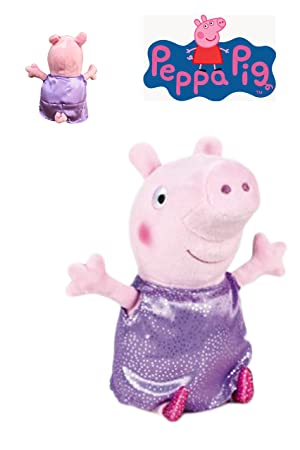 Peppa Pig - Peluche Peppa con vestido lila y plata 20cm - Calidad super soft
