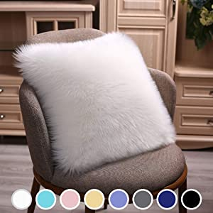 Junovo Modern Style Chair Decorative Faux Fur Pillow Case, Backing Hold Pillow Case/Seat Sofa Cushion Square Throw Pillow Cover, 18 x 18inch White