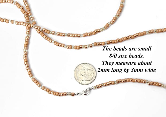 Amazon com: Copper Peach Seed Bead Necklace, Long Peach Seed