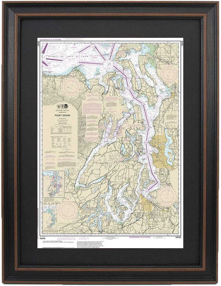 Amazon Com Patriot Gear Company Framed Nautical Chart 18440 Puget Sound Poster Size Posters Prints