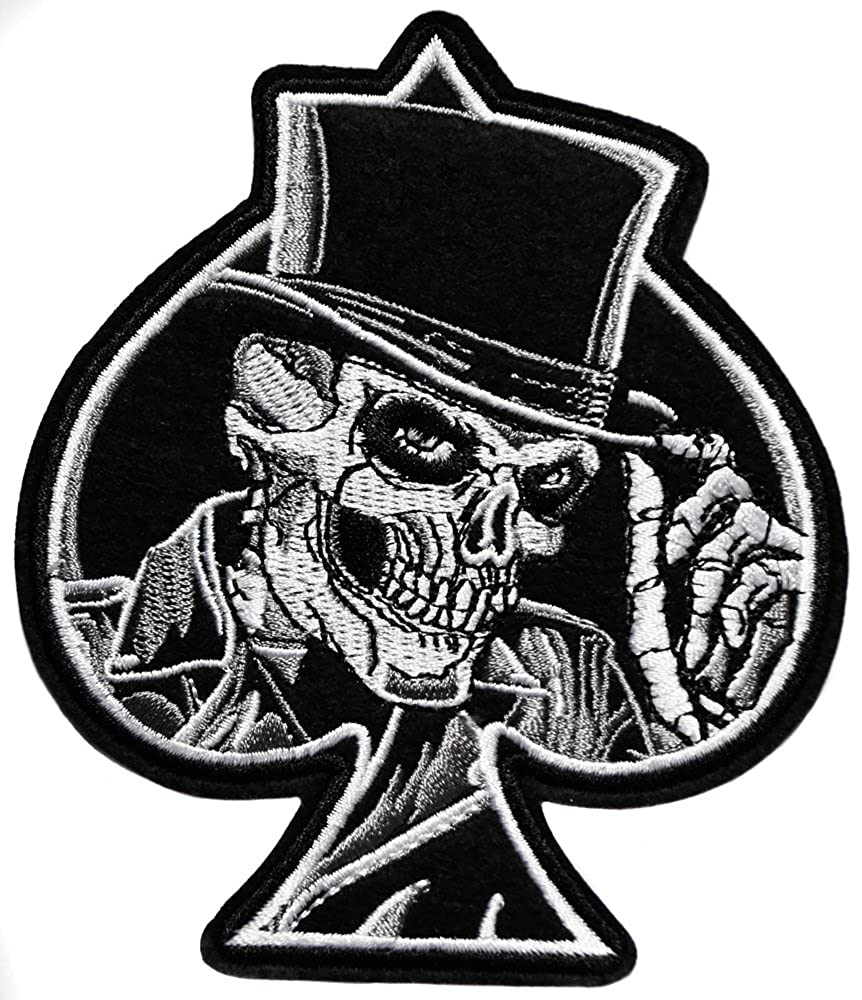 ecusson as de Pique Carte Poker Tete de Mort Pirate Skull Crane Moto Biker thermocollant 10x8cm patche Insigne Biker