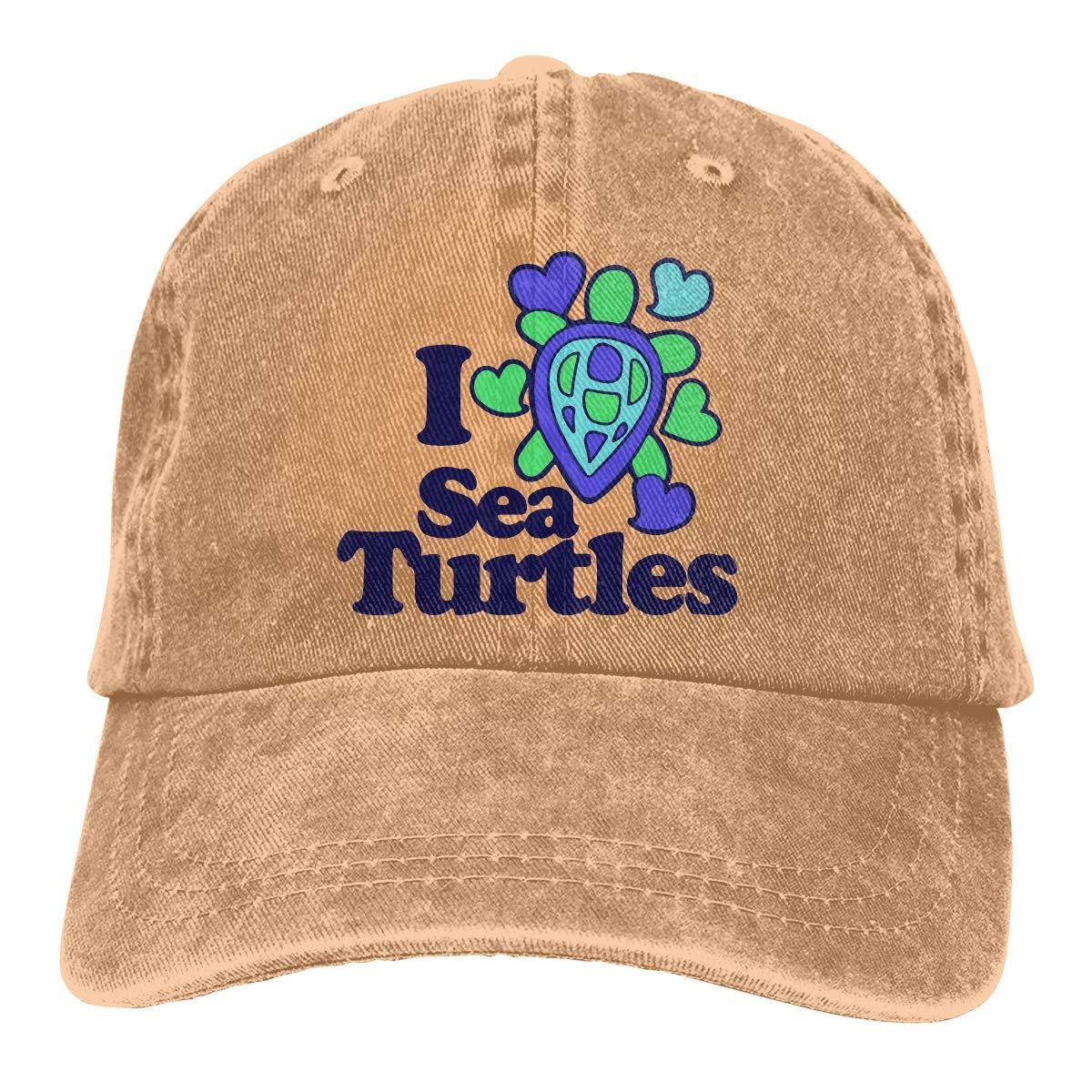 I Love Sea Turtles Unisex Custom Cowboy Casquette Adjustable Baseball Cap