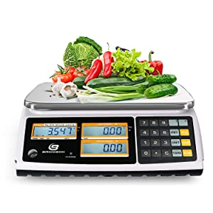NTEP Price Computing Scale, 60lb Capacity, 0.01lb Readability, Digital Commercial Food Meat Counting Weighting Scale LCD with Backlight, Rechargeable Battery Included, Legal for Trade, Cod 21-001