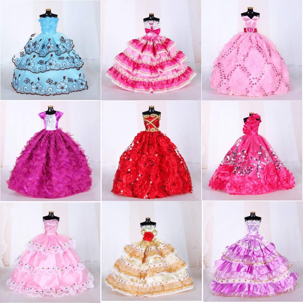 Doll Clothes Sets for Barbie Dresses Girls 9 Pcs Fashion Handmade Wedding Party Dress for Barbie 11.5 Inch Girls Doll Clothes Dresses Accessories Gowns Costume for Kids Xmas New Year Birthday Gifts