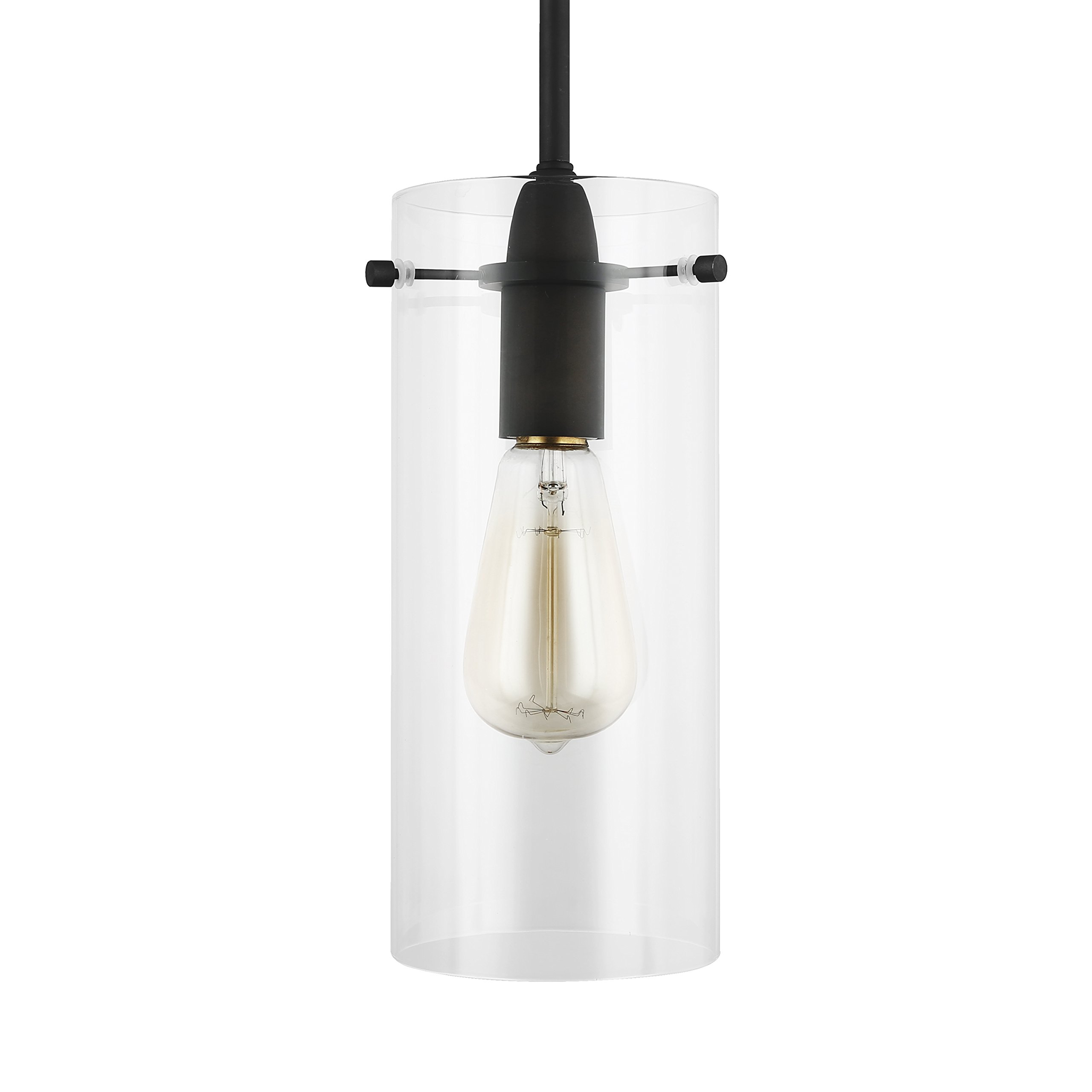 Light Society Montreal Cylindrical Pendant Light, Oil Rubbed Bronze with Clear Glass Shade, Contemporary Minimalist Modern Lighting Fixture (LS-C237-ORB-CL)