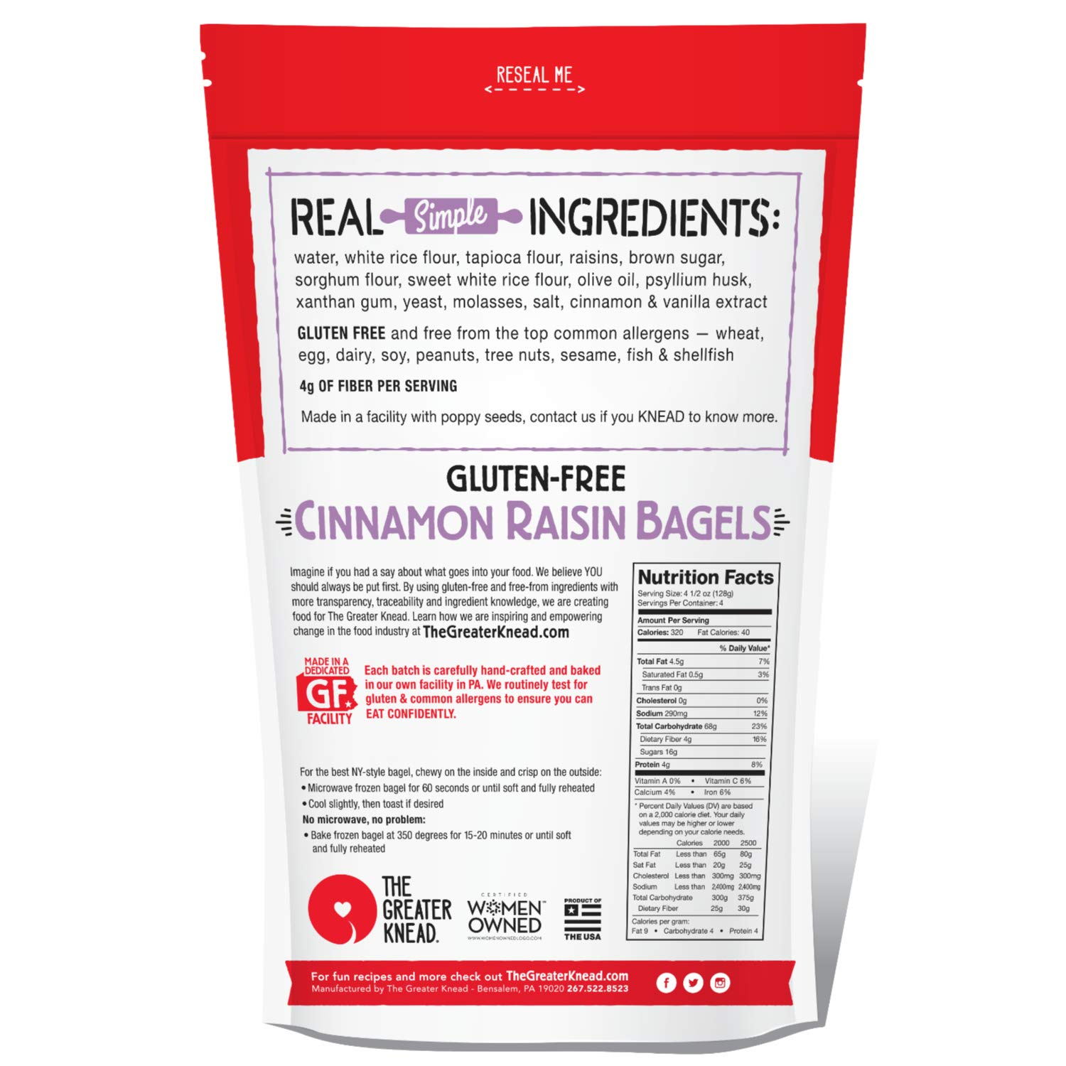 Greater Knead Gluten Free Bagel - Cinnamon Raisin - Vegan, non-GMO, Free of Wheat, Nuts, Soy, Peanuts, Tree Nuts (12 bagels) by The Greater Knead (Image #3)