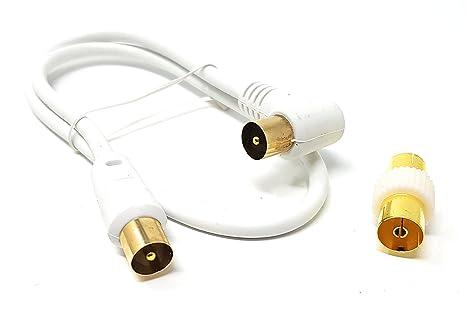 MainCore - Cable coaxial largo de ángulo derecho para antena de TV/AV con acoplador 0,50 m blanco