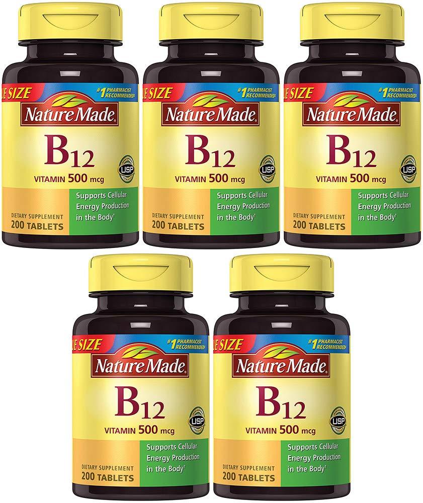 Nature Made Vitamin B12 500 mcg, 200 Count (5 Bottles)