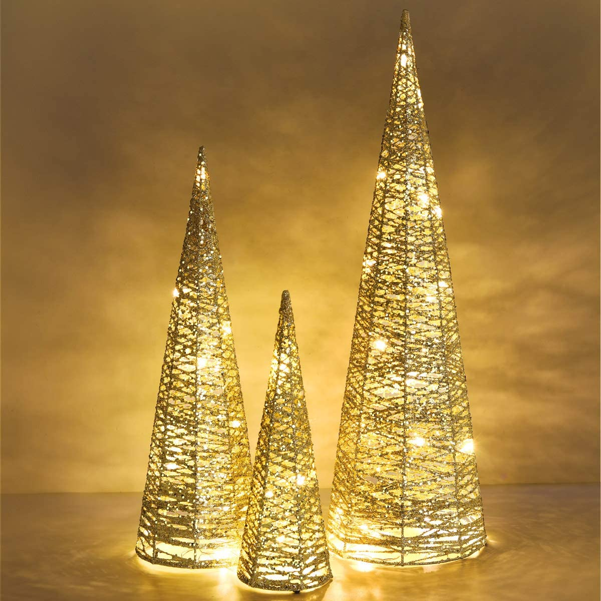Luxspire Christmas Cone Tree Light, 3 Pieces LED Lighted Cone Tree Outdoor Christmas Decoration, Sparkle Beautiful Bright Tree Use Battery Powered Home Décor Christmas for Party Decoration, Gold