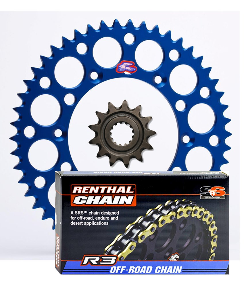 Renthal Grooved Front & Ultralight Rear Sprockets & R3 O-Ring Chain Kit - 14/50 BLUE - Yamaha WR250F, YZ125, YZ250F 4333038833
