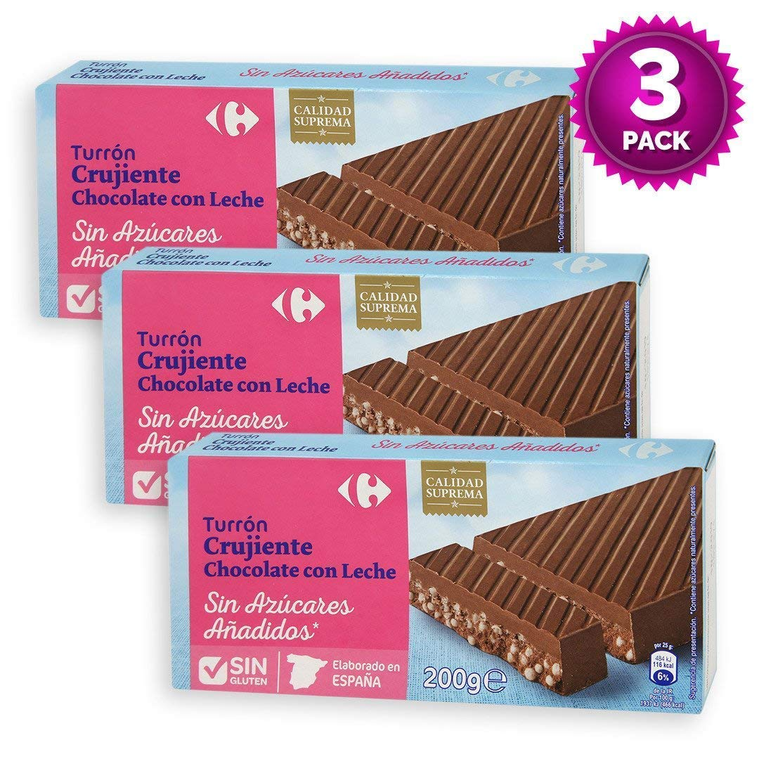 Amazon.com : 3 Pack Carrefour Crunchy Milk Chocolate Spanish Nougat 200g - Made In Spain - Sugar & Gluten Free - Supreme Quality - Nougat With Sweeteners ...
