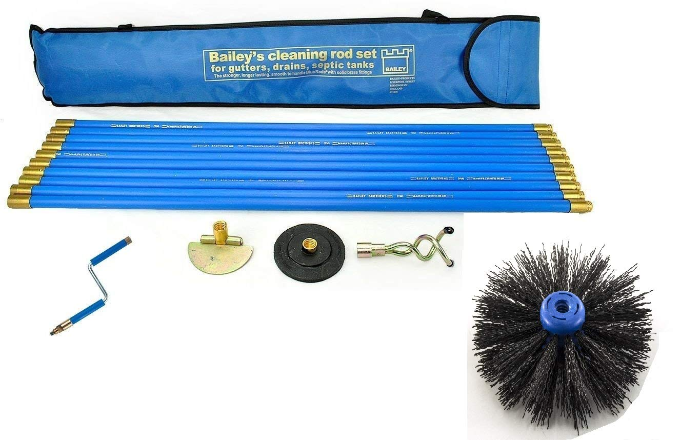 Industrial Bailey Universal 30ft Chimney Brush Sweep Sweeping Drain Rod Set Kit With Rotating Handle